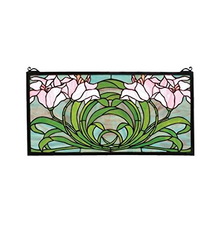 "UPC 705696799503, Meyda Tiffany 79950 Calla Lily Stained Glass Window Panel, 22"" Width x 11"" Height"