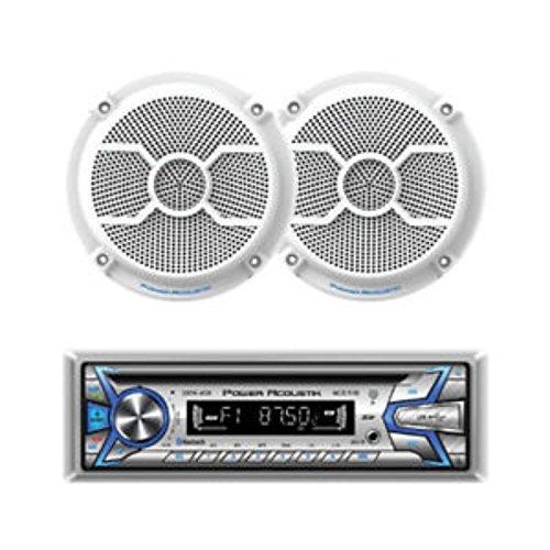 "Power Acoustik MCD1-265 1-DIN CD/MP3, AM/FM, USB, AUX & BT with Pair of 6.5"" Marine Speakers"