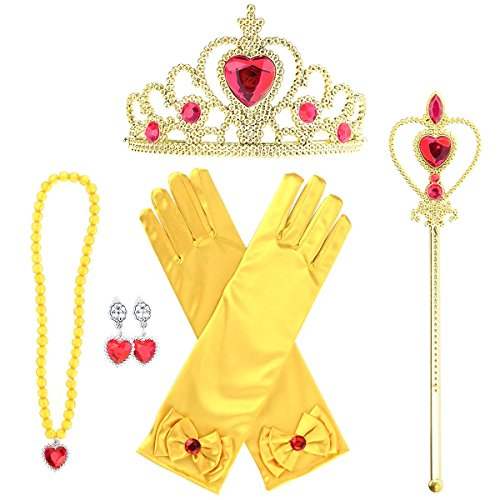 Enterlife Girl's Belle Princess Costume Accessories Gloves Crown Wand Earring and Necklace for Halloween Birthday Party ()