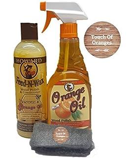 Howard Feed N Wax Wood Preserver 16 Ounce And Howard Orange Oil Restorative  Wood