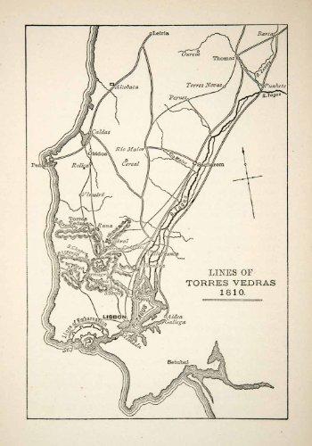 1898 Print Map Torres Vedras Rio Maior Cereal Santarem Leiria Torres Nova Lisbon - Relief Line-block Print