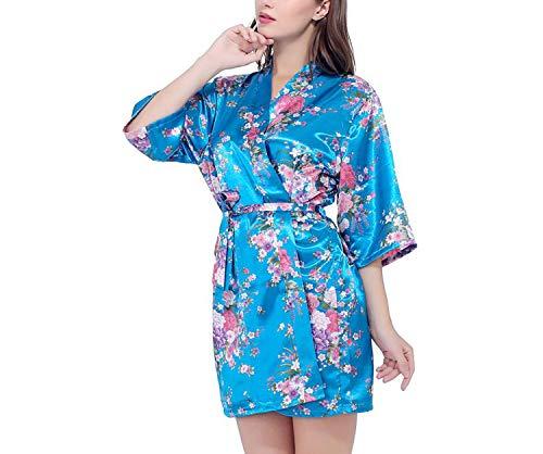 - Silk Satin Bride Robe Bathrobe Short Kimono Robe Night Robe Bath Robe Dressing Gown,As The Photo show5,XL