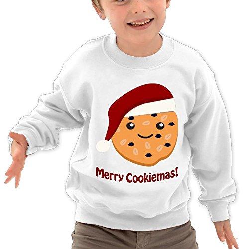 Price comparison product image Puppylol Merry Cookiemas Kids Classic Crew-neck Pullover Hoodie White 3 Toddler
