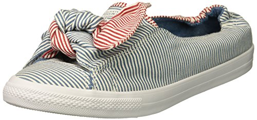 Knot Slip - Converse Women's Knot Striped Chambray Slip on Sneaker, Aegean Storm/White/Gym Red, 9 M US