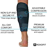 Roxofit Shin Splint Support – Compression Calf Brace for Calf Muscle Pulls, Tears, Strains, and Tennis Leg. Adjustable Wrap Provides Recovery and Prevents Injuries, Fits Men and Women. Black