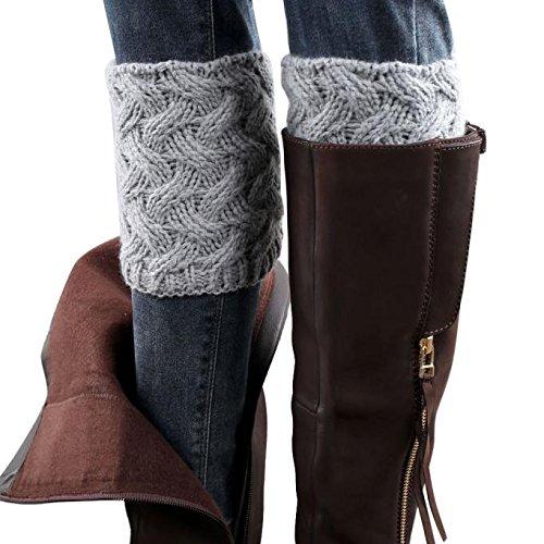 Socks Women, Liraly Winter Warm Knitted Socks Leg Warmers Boot Crochet Long (Gray D) from Liraly