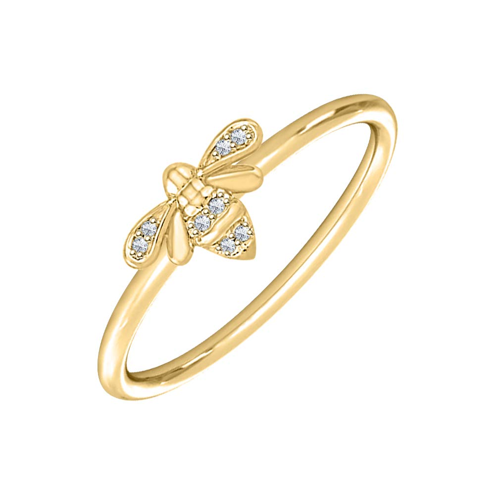 Bumblebee 0.10 Ctw Round Gemstone 14K Yellow Gold Over .925 Sterling Silver Honey Bee Engagement Rings for Womens