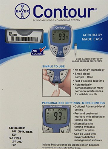 Bayer Glucose Meter >> Bayer Contour Blood Glucose Monitoring System - Model 9545C - Buy Online in UAE. | Hpc Products ...
