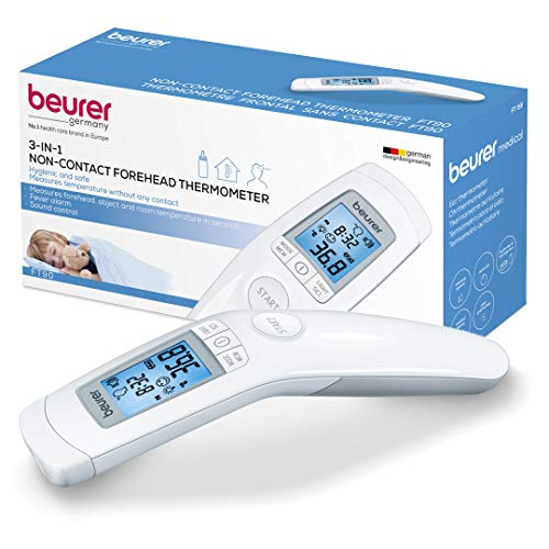 Beurer 3-in-1 Forehead Non-Contact, Body, Surface, Room Temperature, High Accuracy, Large Blue Backlit LCD Display Thermometer, 60 Memory Spaces, FT90