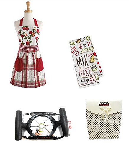 'Bake an Apple Pie' Gift Package Including Apple Orchard Apron, Kitchen Towel and an Apple Wedger Tool