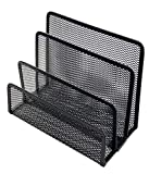 Miukada Desk Mail Organizer,Letter Soter.3 Slot Metal Mesh Mail Holder.Great for Small Files, Letters, Folders,Bills and Documents.(Black,2 Packs)