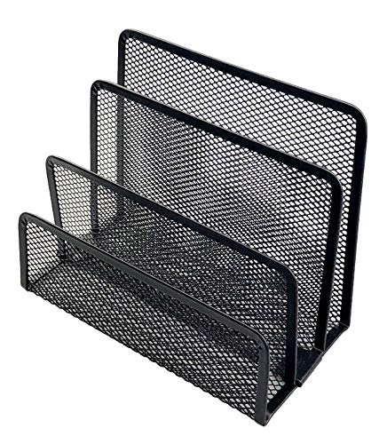 Miukada Desk Mail Organizer,Letter Soter.3 Slot Metal Mesh Mail Holder.Great for Small Files, Letters, Folders,Bills and Documents.(Black,2 Packs) by Miukada