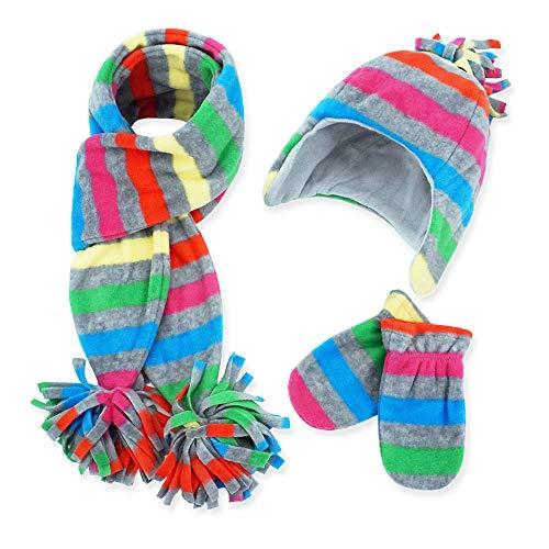 - Todder Baby Kids Girls' Boys' Hats Scarf Mittens Sets, Keepersheep Winter Polar Fleece Earflap Hats Set (Multicolour, 6-12 months)