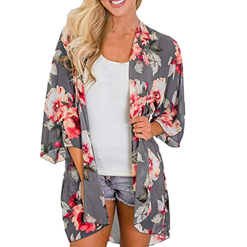 Mikey Store Kimono Cardigans Floral Loose Half Sleeve Shawl Chiffon Casual Cardigan (X-Large, Gray-1) (Best Stores For Sweaters)