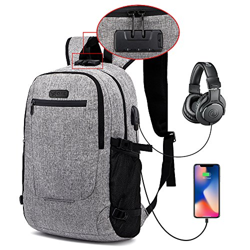 6e0a206fdc Laptop Backpack Anti Theft Padded Computer Bag Waterproof Slim Durable  Business Travel College School Backpack with USB Charging Port for Men  Women fits ...