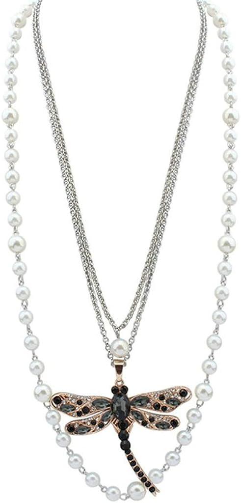 Beydodo Collar de Mujer Cadena Collar Aleación Forma Libélula Zirconia Perla Multicapa Collar para Mujer