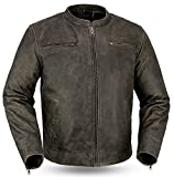 1ST MEN'S MOTORCYCLE DISTRESSED BROWN/ANTHRACITE SPORTY SCOOTER LEATHER JACKET NEW (3XL Regular)