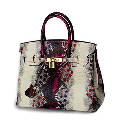 KDHJJOLY Practical Classic Cowhide Woman Genuine Snakeskin Tote Bag Luxury Lock Handbags Women Designer Brand Leather Bolsa Plum Chic