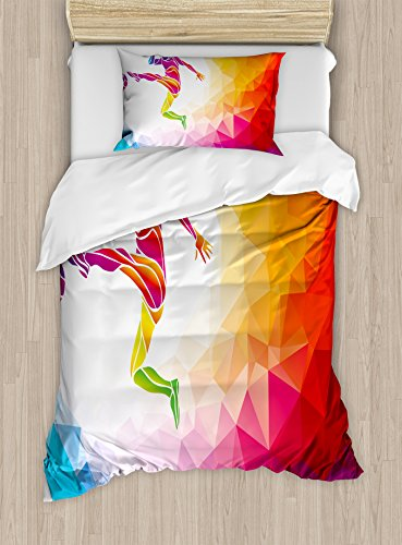 Ambesonne Teen Room Duvet Cover Set Twin Size, Fractal Soccer Player Hitting The Ball Polygonal Abstract Artful Illustration, Decorative 2 Piece Bedding Set with 1 Pillow Sham, Multicolor by Ambesonne