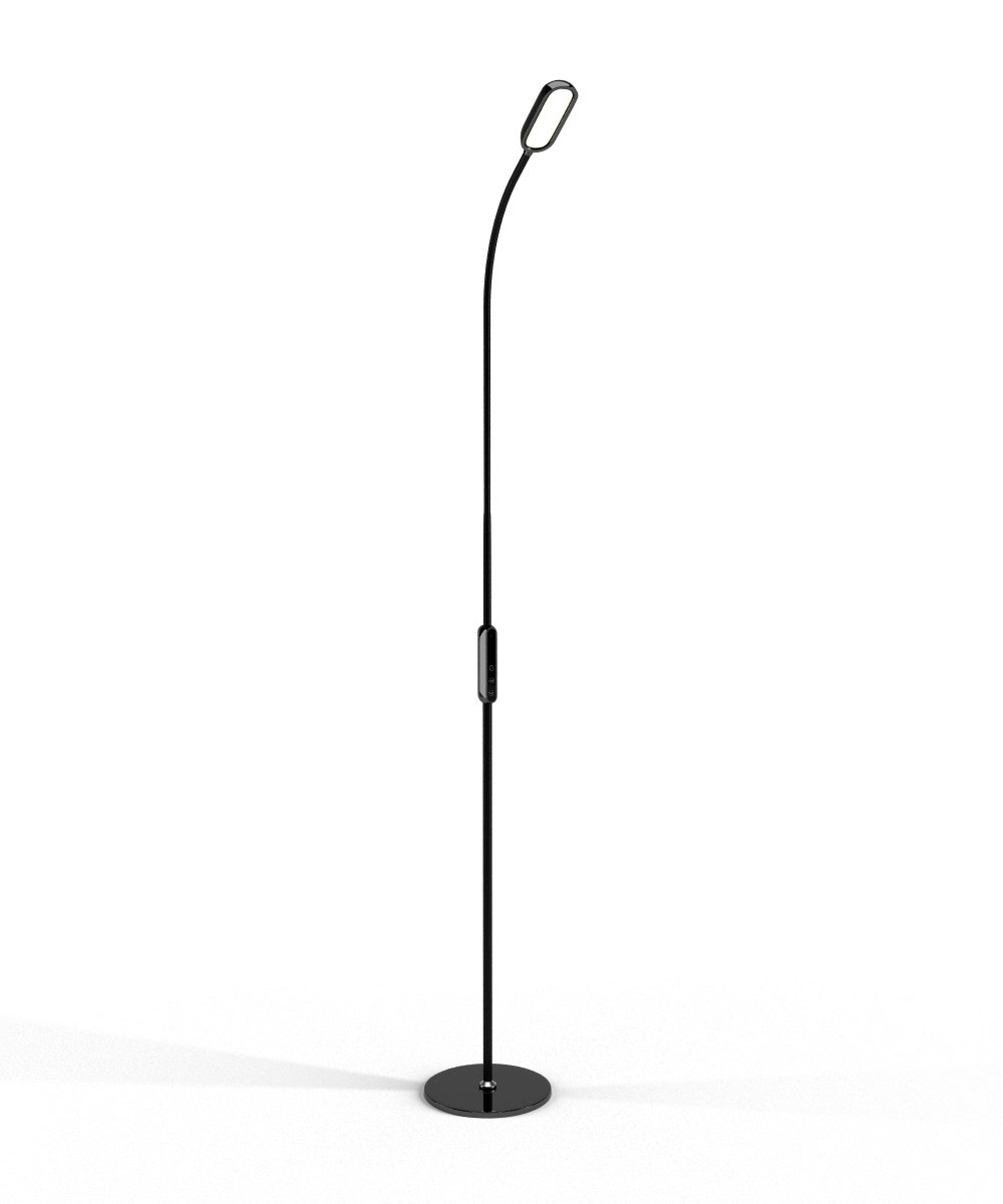 LED Floor Lamp by Lustrat with Flexible Gooseneck for Bedroom, Desk Reading, Living Room, and Office (Modern, Tall, Adjustable Light, 5-Level Dimmable, Timer, Remote and Touch Control) (Black).