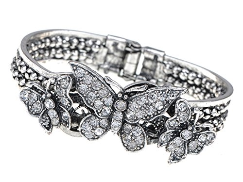 Alilang Silvery Tone Clear Crystal Colored Rhinestones Vintage Butterfly Wings Bangle Cuff Bracelet