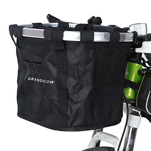 Front Bicycle Bike Basket, GRANDCOW Folding Removable Handlebar Metal Aluminum Frame basket for Pet cat dog cover