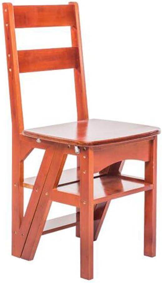 LAXF- Sillas Escalera Plegable Madera Silla Plegable Multifuncional de Madera Maciza de 4 Capas para Adultos Muebles para Sala de Estar de la Cocina Dormitorio Baño (Color : Light Walnut Color): Amazon.es: