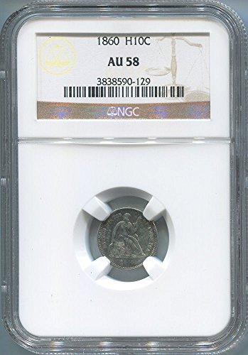 1860 P Seated Half Dime AU58 NGC