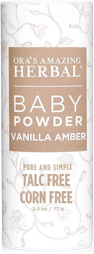 Baby Powder, Talc Free Baby Powder, Natural Vanilla Amber, Corn Free Baby Powder, Ora's Amazing Herbal
