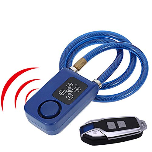 Wireless remote control alarm lock electric bicycle motorcycle password lock steel cable steel chain electronic anti-theft lock (blue)
