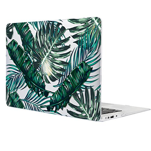 iCasso Macbook Air 13 Inch Case Art Printing Matte Hard Shell Plastic Protective Cover For Apple Laptop Macbook Air 13 Inch Model A1369/A1466 (Palm Leaves)