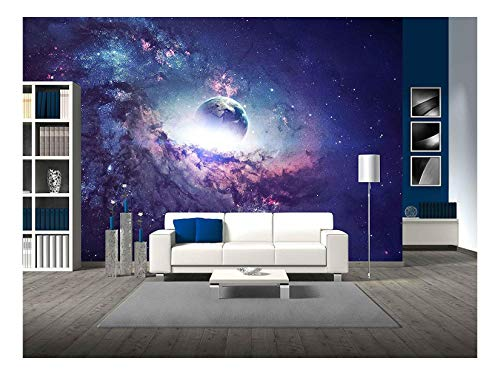 Purple Galaxy Planet Space Stars Wall Decor