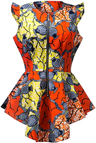 Aikaplus Women African Wax Print Shirt Ankara Traditional Top -