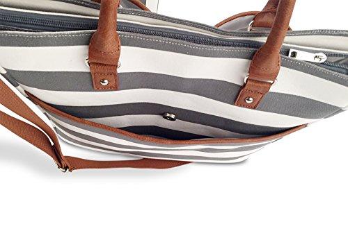 Große geräumige Baby Wickeltasche / Umhängetasche für unterwegs von Maus & Bär | praktisch & elegant | Babytasche inkl. Wickelunterlage und Befestigung für Kinderwagen, aus Canvas, grau / weiß