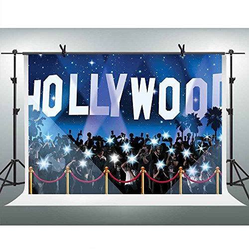 FHZON 10x7ft Hollywood Background Flash Shooting Blue Starry Sky Photography Backdrop Themed Party YouTube Backdrops Photo Booth Studio Props FH1343 ()