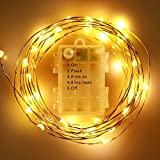 2 Packs FOXNOV Waterproof Battery Operated 50 LED Fairy String Lights, 5 Modes, 5M/16.4Ft, Warm White, Last Over 80 hrs.