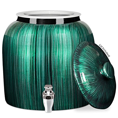 - Brio Vertical Stripe Porcelain Ceramic Water Dispenser Crock with Faucet - LEAD FREE (Green Stripe)
