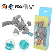2-Pack Elephant Pacifiers Holder,STAR-FLY Lovely No Toxicity Removable Animals Infant Pacifiers with Plush Animal Toy Baby Newborn Pacifier Orthodontic Nipples.