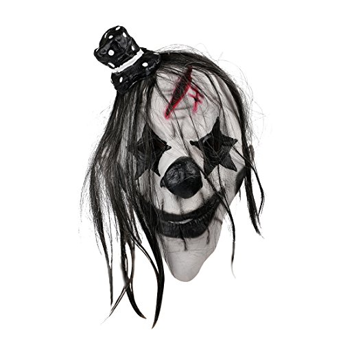 [MISHIN Latex Black and White Clown Mask Adult Halloween Masquerade Party Funny Costumes] (Halloween Clown Masks)