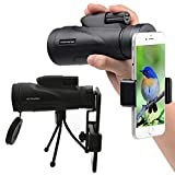Monocular Telescope High Power 12x50 Monoculars Scope Telescope with Quick Smartphone Adapter for Hunting Camping Fishing Wildlife Scenery
