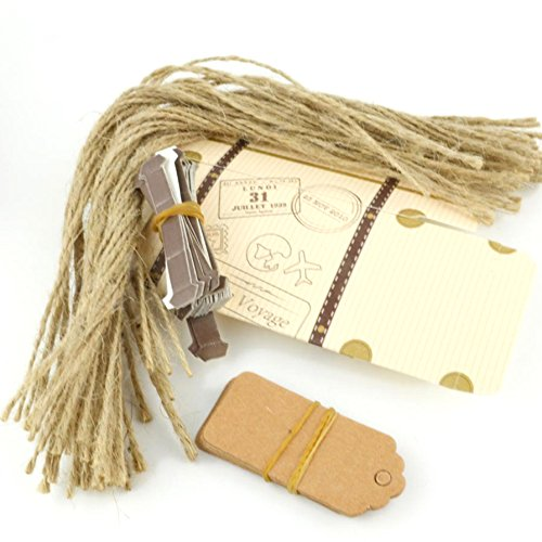 VGoodall Box 50pcs Mini Suitcase Favor Candy Vintage Kraft Paper with Tags and Burlap Twine for Wedding/Bridal Party Decoration by VGoodall (Image #3)