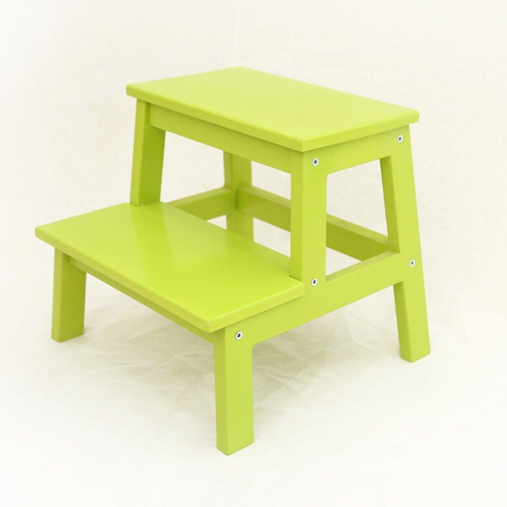はしご便 階段スツールソリッドウッドスツール子供ステップラダー家庭ステップスツール彼の靴を変えるスツール大人スツール ( 色 : Fruit green ) B07CLKJR2M Fruit green Fruit green