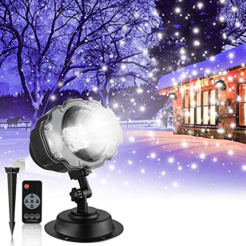 Snowfall LED Projector Lights,Christmas Snow Falling Projection Lamp,IP65 Dynamic Snow Effect Spotlight for Valentines Day Halloween Holiday Party Wedding Garden New Year House Landscape Decorations -