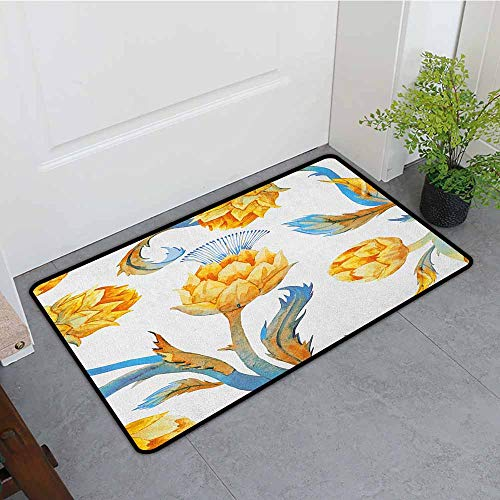 Artichoke Printed Door mat Abstract Colored Vegetables in Art Nouveau Watercolored Design Quick and Easy to Clean W35 x L47 Sky Blue and Earth Yellow Art Nouveau Bronze Door
