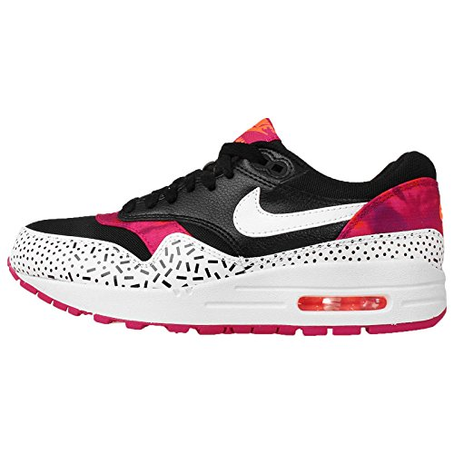 Nike Women's Wmns Air Max 1 Print, BLACK/WHITE-FIREBERRY-PINK POW, 10 US