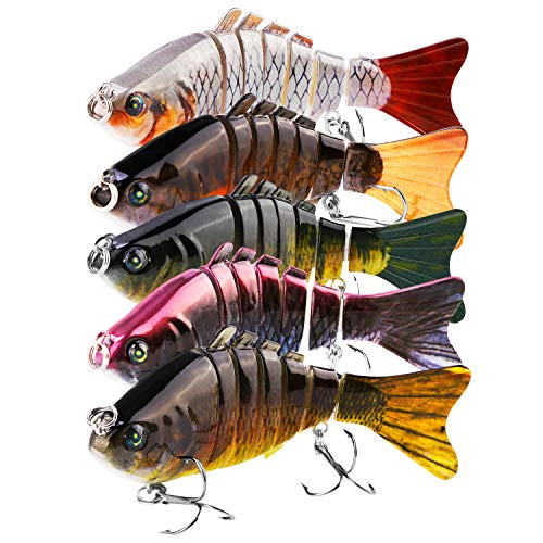 (FishOaky Fishing Lures for Bass, Multi Jointed Artificial Swimbaits with Floating Rotating Tail Topwater Bait Hard Lure for Freshwater Saltwater Carp Bass, 3.94