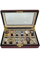 Elegant 12 Piece Cherry Wood Rosewood Watch Box Display Case Collection Jewelry Box Storage Glass Top