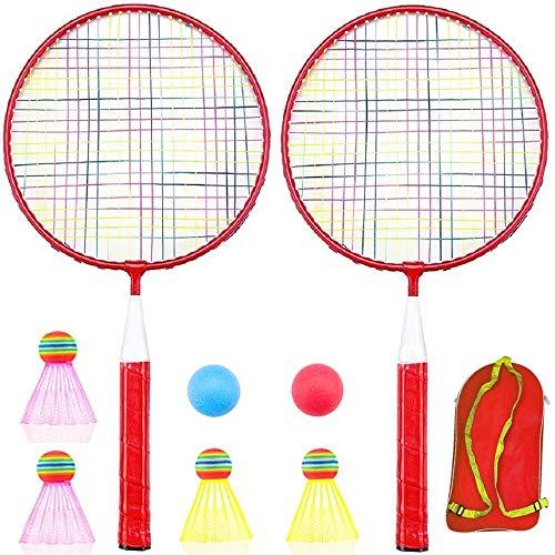 Badminton Racket for Children 1 Pair, Nylon Alloy Durable Badminton Racquet Set for Kids Indoor/Outdoor Sport Game(Including 4 Badminton and 2 Table Tennis) (Red)