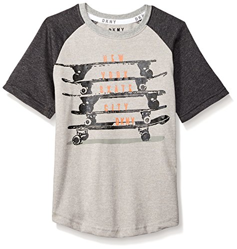 DKNY Boys' Big Skate Boards Short Sleeve Crew Neck T-Shirt, Heather Light, 10/12