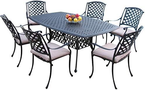 Dining Set Outdoor Cast Aluminum Patio Furniture 7 Piece KL4272 CBM1290
